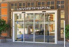 对苏黎世大学医院的入口  图库摄影