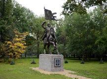 对莫斯科德米特里・顿斯科伊的圣徒王子的纪念碑第一个莫斯科军校学生军团的站点的 库存图片