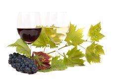 对葡萄酒杯和葡萄 库存照片