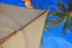 对蓝天的看法在遮光罩下,海边vaca的概念 库存照片