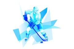 对蓝色冰的曲棍球运动员攻击 库存照片