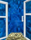 对蓝色抽象和美元的被打开的窗口 免版税图库摄影