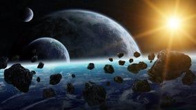 对行星的陨石冲击在空间 免版税图库摄影