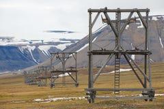 对被放弃的北极煤矿设备的看法在朗伊尔城,挪威 免版税库存图片