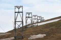 对被放弃的北极煤矿设备的看法在朗伊尔城,挪威 图库摄影