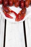 对被蒸的小龙虾 红色煮沸了在白色木土气背景的小龙虾 土气样式 免版税库存图片