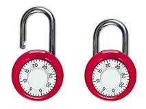 对被锁和开锁的号码锁 免版税库存图片
