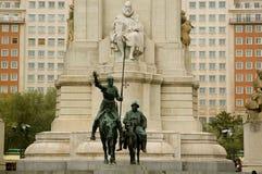 对西万提斯,马德里的纪念碑。 库存图片