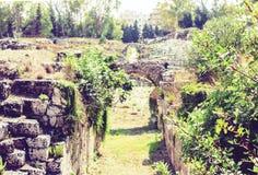对西勒鸠斯西拉库萨–废墟罗马圆形剧场的废墟的入口在考古学公园,西西里岛,意大利 图库摄影