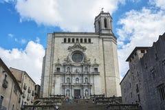 对西班牙市的大教堂的楼梯希罗纳 免版税图库摄影