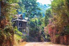 对观点的美丽的绿色路走道从Kep国家公园,柬埔寨 柬埔寨村庄,典型的农村房屋建设 免版税库存图片