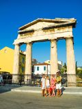 对视图的上城集市雅典接近的hadrian图书馆罗马s端 免版税图库摄影