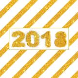 对角条纹和图金黄闪烁2018年在白色背景,您的设计的卡片 库存图片