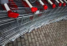 对角超级市场推车背景 图库摄影