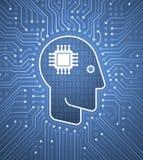对计算机接口-计算机控制学的头脑的脑子 图库摄影
