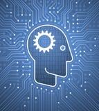 对计算机接口-计算机控制学的头脑的脑子 库存图片