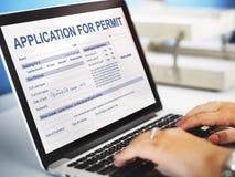 对许可证形式当局概念的申请 免版税库存图片