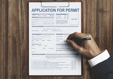 对许可证形式当局概念的申请 库存照片