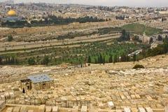 对谷视图的两个耶路撒冷kidron端 免版税库存照片
