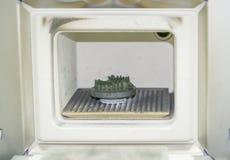 对象在金属3d打印机打印了在焊接的窑在热治疗synterization特写镜头以后 图库摄影