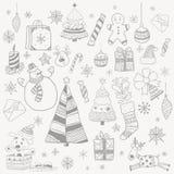 对象新年圣诞树雪人礼物圣诞节装饰雪花 库存例证