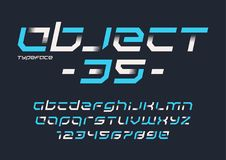 对象35传染媒介未来派工业显示字体设计, 库存例证