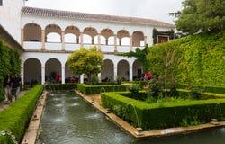 对赫内拉利费宫宫殿的看法  格拉纳达 免版税库存照片
