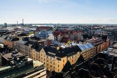 对赫尔辛基市建筑学的鸟瞰图在芬兰 免版税库存照片