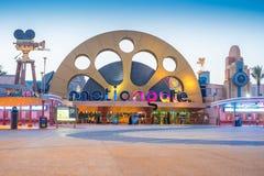 对迪拜公园的入口和手段MotionGate迪拜公园2108 2017年 库存图片