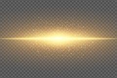 对透明背景的不可思议的时髦的光线影响 抽象金黄闪光 发光的飞行的尘土氖金线 ?? 向量例证