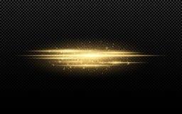 对透明背景的抽象时髦的光线影响 在行动的金黄发光的霓虹线 金黄光亮尘土和强光 Fl 库存例证