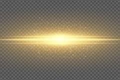 对透明背景的摘要不可思议的时髦的光线影响 金黄闪光 光亮飞行的尘土淡光的微粒飞行 库存例证