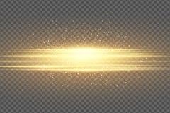 对透明背景的摘要时髦的光线影响 金黄闪光 光亮飞行的尘土混乱发光的霓虹金条纹 皇族释放例证