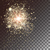 对透明背景的金子焕发光线影响 与闪闪发光的星爆炸 也corel凹道例证向量 免版税图库摄影