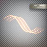 对透明背景的闪烁不可思议的闪闪发光漩涡足迹作用 与闪耀的飞行的Bokeh闪烁圆的波浪线 库存例证