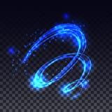 对透明背景的魔术发光的轻的漩涡足迹作用 向量例证