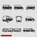 对透明van vector调整所有背景公共汽车颜色颜色不同的容易的查出的对象集合符号 免版税库存图片