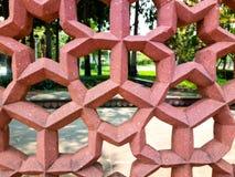 对通过布朗混凝土墙的特写镜头在庭院视图 图库摄影