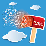 对邮箱概念传染媒介的网络连通性 库存照片