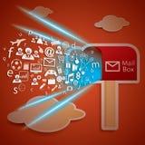 对邮箱概念传染媒介的网络连通性 免版税库存图片