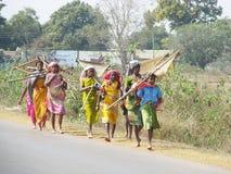 对部族妇女的鱼去的印地安人 图库摄影