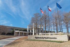 对金佰利在欧文, Tex的世界总部的入口 库存照片