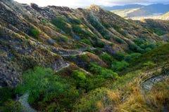 对金刚石头火山口观点的一串足迹在奥阿胡岛 免版税库存照片