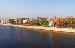 对金黄英里码头的看法在莫斯科市中心 免版税库存图片