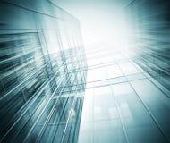 对钢浅兰的背景的全景和透视广角视图玻璃高层建筑物摩天大楼商业现代 库存照片