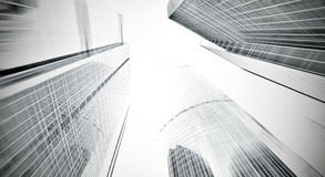 对钢浅兰的背景的全景和透视广角视图玻璃高层建筑物摩天大楼商业现代 免版税库存照片