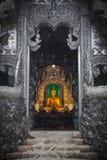 对银色寺庙清迈的入口在Wat Srisuphan 免版税库存照片