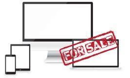 对销售敏感网络设计和网站发展传染媒介设备 免版税库存照片