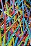 对长度的竹片断被绘的裁减和五颜六色 库存照片