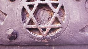 对门的掀动与大卫犹太教标志星马根或盾  影视素材